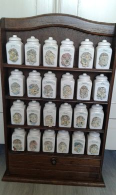 Goldina Art Collection Spice rack with 24 handmade porcelain spice jars.
