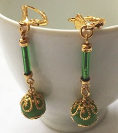 14k Yellow gold earrings with filigree with prehnite - size earrings 60 x 10 mm.