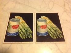 Pair of cardboard signs, Sacla Asparagus, year 1956