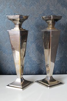 Two stylish silver plated candlesticks, 2nd half of 20th century, Netherlands