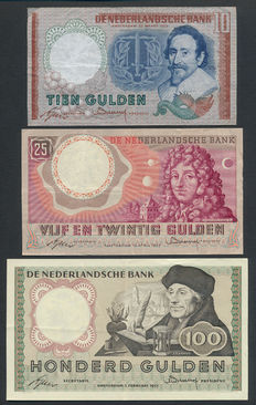 Netherlands - 10 guilders 1953, 25 Guilders 1955 and 100 Guilders 1953 - NVMH 48-1a, 83-1a and 121-1