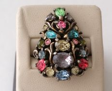 1950 HOLLYCRAFT Silver Tone Multi Colored Rhinestone Adjustable Ring
