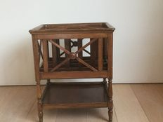 Walnut  canterbury / newspaper holder, 20th century