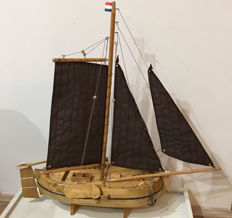 Hand made wooden scale model of a Dutch sailing boat type skutsje, tjalk. full wood and complete