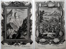 2 engravings by D.Scheuchzer & I.G. Pinz (18th century) - Religious scenery's with highly decorated Cartouches - 18th century