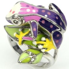 925 silver frog ring, set with enamel and white topaz