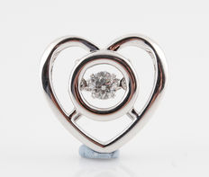 18 kt white gold diamond heart pendant, 0.12 ct H/SI1 . No reserve price