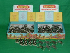 "Speedwell, England - Scale 1/32 - Plastic soldier: batch of 2 x ""WW2 American Infantry (96 figurines), 1950s/60s"