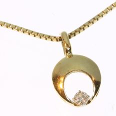 Fashionable gold half moon sickle with diamond pendant and necklace