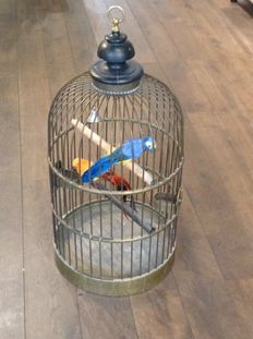 Large parrot cage made of brass/copper