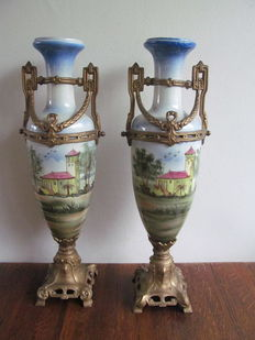 Pair of two vases, hand decorated, Ca 1900