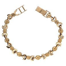 14 kt Yellow gold fantasy link bracelet – Length: 19.7 cm.