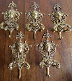 Five large copper coat rack hooks, ca. 1910, France