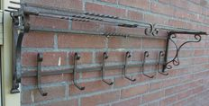 Large Decorated Wrought Iron Coat Rack
