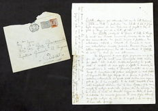 Autograph; Original letter by Pietro Mascagni about Lodoletta Opera and his son - 1918