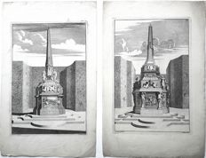 J. Schyvnvoet (1685-1704) after S. Schynvoet (1653-1727) - 2x Urns in gardens- c. 1700