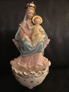 Holy water font Mary with child
