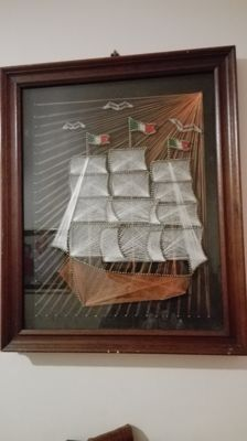 Beautiful sailing ship painting made of handcrafted silk