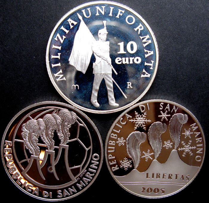 San Marino - 5 and 10 Euros, 2004/2005 (3 different coins), silver