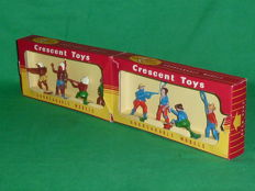 "Crescent Toy, England - Scale 1/32 - Plastic soldier ""Cowboy & Indian Set No.584"", 1950s/60s"