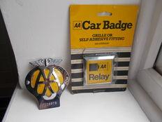 2 vintage aa car badges one chrome 1966- 67    the square chrome relay  car badge is 1970 - 80s still in original packing