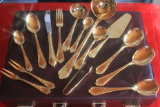 SBS Solingen cutlery case, 71 pieces - 18/10 stainless steel, 23/24 carat 1000 fine hard gold plated, mint condition