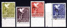 Soviet zone 1948 - district hand cancellation on Mark values of the control council edition, Michel II a-d