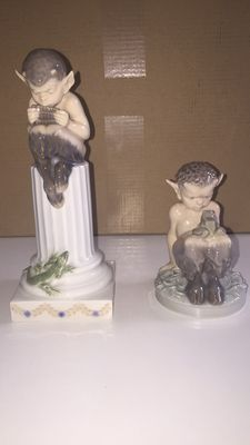 Royal Copenhagen - Faun with lizard and Faun with a frog (light green)