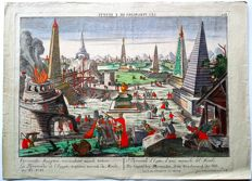 George Balthasar Probst (1673-1748) - Handcoloured Optical engraving with Colourful Pyramids & Obelisks - 18th century