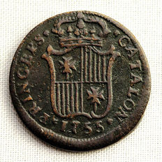 Spain – Fernando VI – 1 copper ardit coin – 1755 – Barcelona