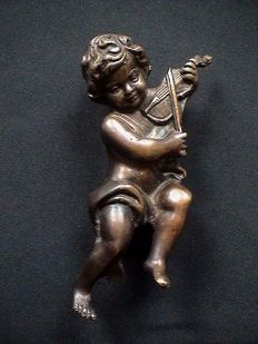 Bronze sculpture/figurine of a putto - France - circa 1920