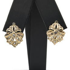 Vintage earrings in 18 kt yellow gold with zirconias
