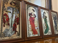 The four Seasons, Alphonse Mucha - Four wooden framed mirrors - United Kingdom, mid 20th century