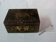 Old and beautiful black lacquered charcoal wooden box - China - Century: 19