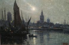Unknown (19/20th century) - Havengezicht bij maanlicht (Harbour by Moonlight)