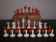 Antique Staunton chess set made from bone