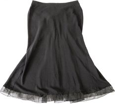 Louis Vuitton - black silk  catching long skirt