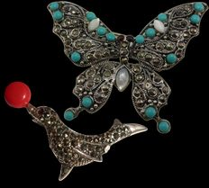 Collection of two silver brooches with marcasites