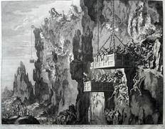 Two biblical prints by Johannes Covens I (1697-1774) & Cornelis Mortier (1699-1783) + Jan Luyken (1649 - 1712) - Herodes fights in the Mountains + View at the Tabernacle - 1700