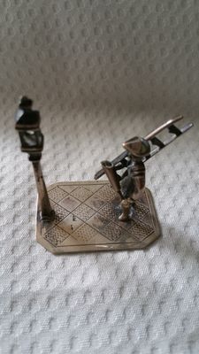 Dutch silver miniature lantern lighter, Dutch, ca 1930
