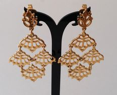 Crown TRIFARI Gold Plated Chandelier Dangle Earrings