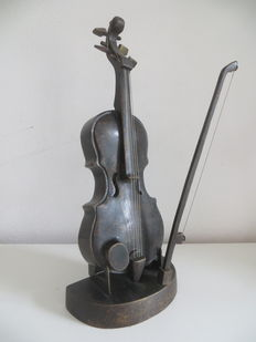 Beautiful decorative bronze violin and bow on standard, second half 20th century