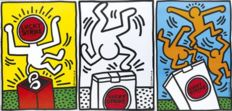 3 x Keith Haring (after) - Lucky Strike (blue, yellow and white)