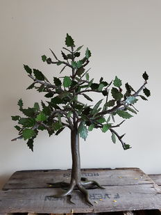 Detailed heavy metal deciduous tree, looks real, 1970s- height 55 cm