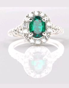 14k Gold Emerald and Diamond Ring - size 7.5