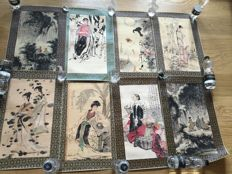 collection of eight watercolor painting after famous artists - China - second half 20th