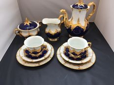 Meissen - Coffee set - First choice - B-Form - Kobalt gold -  1924-1934.