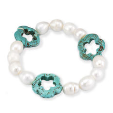 Cultured pearl bracelet with flower-shaped turquoise stones - No reserve price