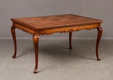 Oak extendable dining table in rococo style, France, second half of the 20th century