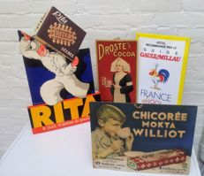 4 advertising signs - 'Rita Pain d'Épices', Chicorée Mokta Williot', 'Droste's Cocoa' & enamel sign 'Gault Millau' - from the 50s